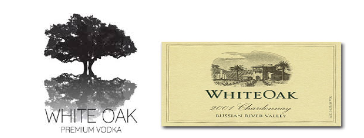WHITE OAK PREMIUM VODKA and WHITE OAK for wine label